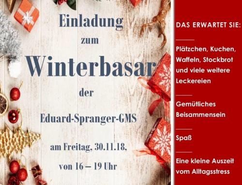 Einladung zum Winterbasar am 30.11.2018 von 16:00 Uhr bis 19:00 Uhr an der Eduard Spranger Gemeinschaftsschule